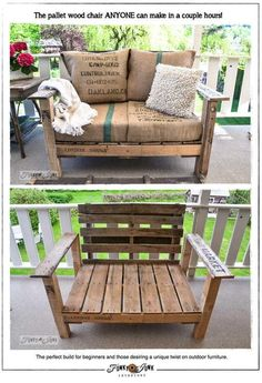 Pallet Love Seat with Burlap Upholstery (via A cool pallet wood chair anyone can make – part 1   Funky Junk Interiors)