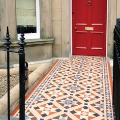 Bespoke Victorian Floor Tile Pattern based on Blenheim with modified Kingsley border in Buff, Brown, Red,  Blue and Dover White, incorporating Montague Brown on Buff