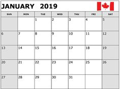january 2019 calendar canada printable january january2019 january2019calendarcanada canada
