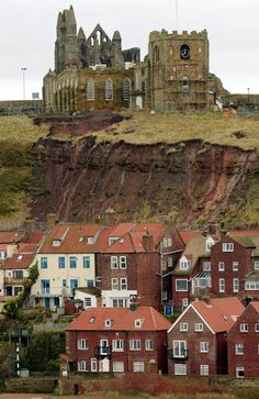 At St Mary's Church in Whitby, North Yorkshire, which inspired Bram Stoker when writing his classic novel Dracula, graves are in danger of crumbling down the cliffside after constant landslips in recent weeks. The historic graveyard has been closed for over a century, but human bones were discovered during a landslide last month.