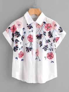Short Sleeve Blouses. Shirt Decorated with Button. Designed with Collar. Regular fit. Perfect choice for Casual wear. Floral design. Trend of Summer-2018. Designed in Multicolor. Fabric has no stretch.