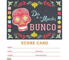 Dia de los Muertos Bunco  Printable Bunco Score and Table