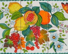 Ceramic Tile Art Hand Painted Pomegranate by CeramicsfromItaly