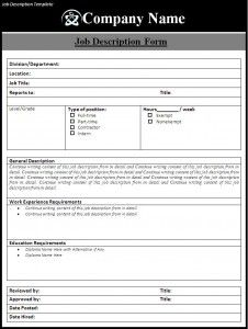 Simple Job Description Template | Business Forms | Pinterest | Job ...