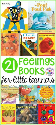 Feelings Books for Little Learners – Sarah Tinney Feelings Books for Little Learners My top 21 Feeling Books for little learners (preschool, pre-k, and kindergarten) to help students learn to label, express, and read others feelings and emotions. Feelings Preschool, Feelings Activities, Preschool Books, Preschool Activities, Books For Preschoolers, Preschool Pictures, Best Kindergarten Books, Preschool Curriculum, Family Activities