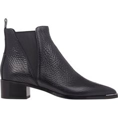 Acne Studios Jensen Chelsea Boots ($550) ❤ liked on Polyvore featuring shoes, boots, ankle booties, black, ankle boots, black pointed toe booties, black booties, leather boots, black bootie and short black boots