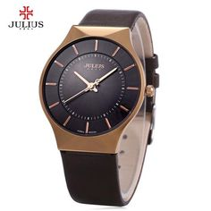 Genuine Leather Ultra thin Mens luxury watch