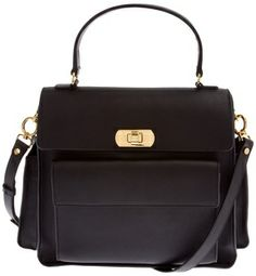 Marni flap pocket satchel on shopstyle.com | Black calf leather satchel from Marni featuring a front flap pocket, two side flap pockets, a front flap closure with a gold-tone twist clasp fastening, an adjustable and detachable shoulder strap and a curved top handle.
