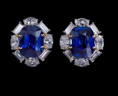 White Gold Over Ct Cushion Cut Blue Sapphire & Diamond Stud Earrings Sapphire Earrings, Blue Earrings, Dangle Earrings, Diamond Studs, Diamond Heart, Sapphire Jewelry, Designer Earrings, Designer Jewellery, High Jewelry