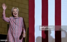 Democratic presidential nominee Hillary Clinton arrives for a rally at the University of North Carolina at Greensboro on September 15 2016 in...