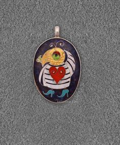 """Bird with a fish Pendant""Cloisonne Enamel"