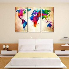Home Decor 3 Panel Modern Oil Painting World Map Wall Picture Unframed Canvas S