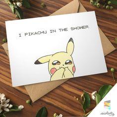 POKEMON GREETING CARD  Pikachu Shower | Pokemon Go⎥Pun⎥Couple⎥ Gift ⎥Valentine |  Gamer⎥ 90s Present⎥Love⎥ Nintendo⎥ Boyfriend ⎥Girlfriend⎥Birthday⎥ Anniversary | Anime Love Card | Gaming Nerd Cards⎥Geek⎥Pokemon Art ⎥Design⎥Pocket Monsters ⎥Handmade⎥Paper Goods | Humour | Naughty