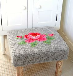 Decor Inspiration: Cross-Stitched Crocheted Footstool Cover