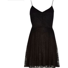 River Island Black lace fit and flare slip dress and other apparel, accessories and trends. Browse and shop related looks.