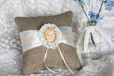 """Cameo Burlap Wedding ring bearer pillow.. I'm not usually a fan of """"the pillow"""", but this caught my eye"""