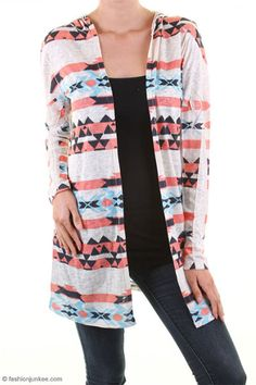 Hooded Lightweight Open Front Tribal Aztec Print Cardigan-Coral, Aqua Blue & Ivory Coral Aqua, Blue Ivory, Tribal Print Cardigan, Tribal Prints, Western Wear, Cardigans, Kimono Top, Plaid, Trending Outfits