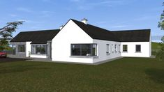 Traditional Large Style Bungalow providing our client with large living spaces, maximizing comfort and practicality. Rural House, Bungalow House Plans, Bungalow House Design, Bungalow Ideas, Square House Plans, Metal House Plans, House Designs Ireland, Modern Bungalow Exterior, Passive House Design