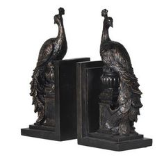 Two Peacocks Bookends - bookends