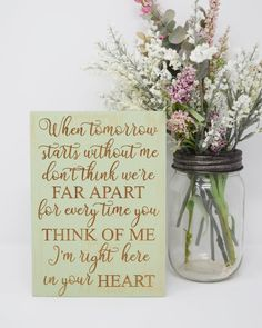When tomorrow starts without me don't think we're far image 1 Memorial Wood Sign | Remembrance Gift | Sorry for Your Loss | Condolences | In Memory of #remembrance #memorial #condolences