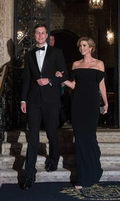 Ivanka turned heads in an off the shoulder bow gown by Dolce & Gabbana for a night out at President Trump's Mar-a-Lago resort in Palm Beach, Florida.    Photo: NICHOLAS KAMM/AFP/Getty Images