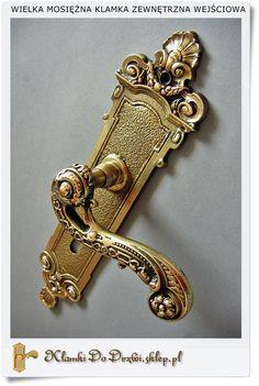 Piękne klamki do drzwi Wejściowych - Klamka bramowa (Patyna- Poler)