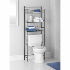 Mainstays Bathroom Space Saver Over Toilet Rack Towel Storage Organizer Toilet Shelves, Sink Shelf, Bathroom Shelves, Bathroom Fixtures, Bathroom Storage, Small Bathroom, Bathroom Ideas, Toilet Storage, Bathrooms