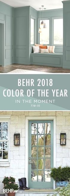 Introducing the BEHR 2018 Color of the Year: In The Moment. With undertones of b… Introducing the BEHR 2018 Color of the Year: In The Moment. With undertones of blue, gray, and green, this calming paint color helps to create a relaxing space in your home, Calming Paint Colors, Paint Colors For Home, Wall Colors, House Colors, Accent Colors, Basement Paint Colours, Relaxing Bedroom Colors, Behr Paint Colors, Interior Paint