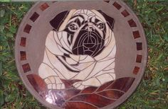 Noble Pug Handmade Stained Glass and Concrete by HippMosaics, $95.00