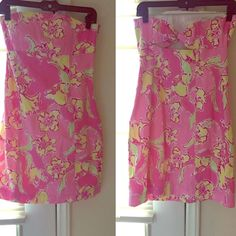 Lily Pulitzer Strapless Dress! Adorable for spring and summer! Love this dress, just a little big on me! Very well made. I think it can fit a size 6 too. Lilly Pulitzer Dresses Strapless