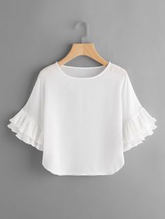 SheIn offers Layered Pleated Frill Sleeve Top & more to fit your fashionable needs. Blouse Styles, Blouse Designs, African Blouses, Girl Outfits, Cute Outfits, Vetement Fashion, Frill Tops, Western Outfits, I Dress