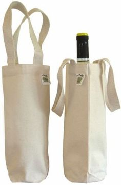 Canvas Wine Bag for 750 mL Bottle - 100% Recycled Cotton - could personalize!