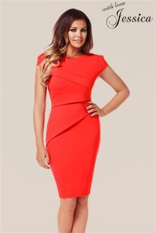 Jessica Wright Pleated Shift Dress - fab colour