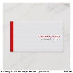 Plain Elegant Modern Simple Red Stripe on White Business Card