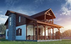 """House type """"chalet"""" - 151.3 sq.m. #buindilg #design #architecture #canadianhouse #vacationhome #countryhouse #cottage"""