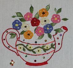 Miss Tia Potts, Brazilian embroidery with Kreinik Serica.