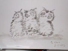 owls, black watercolor