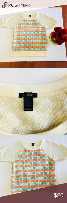 J. Crew T-shirt Size S Gently pre-owned - no holes, rips, or stains.   Size: S Neckline: Rounded Sleeves: Midi Sleeve Bust:18 Length:24 Sleeve Lenght: 4.5 Bottom:18 J. Crew Tops Sweatshirts & Hoodies
