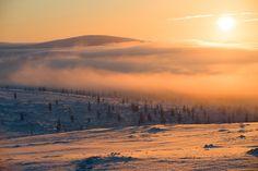 Lost in light (Saariselkä, Lapland, Finland) by Nina Lindfors Polar Night, Beautiful Sky, Wilderness, Photo Art, Lapland Finland, Lost, Mountains, Sunrises, World
