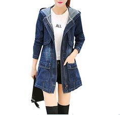 Women's Denim Jackets - QINGYAUN Womens Long Hooded Denim Jackets Pockets Zipper Trech Coat >>> Find out more about the great product at the image link.