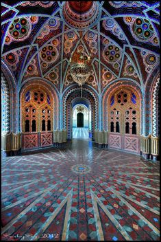 "There was no citation with this photograph. It is so beautiful that I could not leave it out. Speaks ""castle"" to me. 1/2014 - I now believe this to be another room in Castle Sammezzano in Italy."
