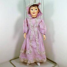 HAZELLE'S MARIONETTES NO. 413-SOUTHERN BELLE (1953) IN A RELAXED STATE is much happier now that she is in her new home at #PuppetParadise. This #puppet didn't come with a box, so she will go into my hanging stock to be rotated into displays from time to time. It is no problem to hang #marionettes for storage. But marionettes tend to fare much better in long-term storage if kept in the original box. But these are cheaply made toys -- not professional marionettes -- so they will always show…