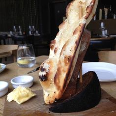 Naan bread and home churned butter at Barbecoa London