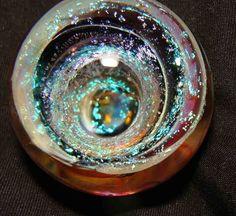"""kc boro glass marble aqua dichro fumed vortex tunnel 1 1/8"""" #Glass"""