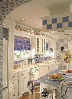 adorable blue and white cottage kitchen - Kitchen Decor Magazine Cottage Shabby Chic, White Cottage, Cottage Style, Coastal Cottage, Cottage Kitchens, Home Kitchens, Cozy Kitchen, Kitchen Decor, Kitchen Country