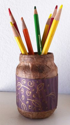 Recycled Jars and Michaels Recollections papers. Quick and pretty for the fall holidays. Art Projects for Kids