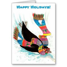 Funny Winter Holiday Penguin Christmas Card from Sand Creek Ventures