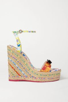 Sophia Webster Laurellie Bow-embellished Floral-print Leather Espadrille Wedge Sandals In Pink ,yellow Cowboy Boots Women, Cowgirl Boots, Western Boots, Riding Boots, Sophia Webster Shoes, Timberland Style, Timberland Fashion, Wedge Sandals, Espadrille Wedge