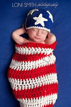Instant Download PDF Crochet Pattern - No. 27 Newborn Stars and Stripes Cocoon Hat Set on Etsy, $4.49
