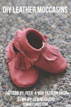 Baby Leather Moccasins – pattern by Peekaboo Patternshop, sewn by Sew Much Ado